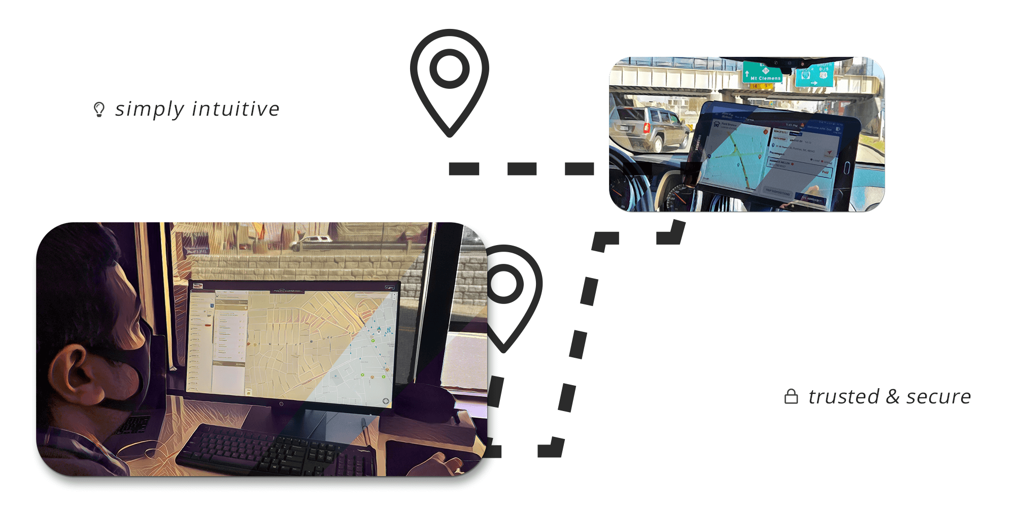 """A compilation of images. The first is a manager reviewing the live fleet look at where his team is at through the computer; all while another image shows the driver on the road with turn by turn navigation on a tablet. There's text that says """"simply intuitive"""" and """"trusted and secure"""""""
